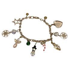 Sterling Christmas Theme Charm Bracelet