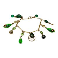 12K Gold Filled Green Dangle Charm Bracelet 7 1/4""