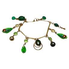 "12K Gold Filled Green Dangle Charm Bracelet 7 1/4"""