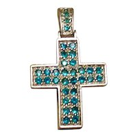 Sterling Silver Teal Rhinestone Cross Pendant
