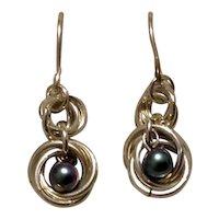 Sterling Faux Gray Pearl Dangle Earrings