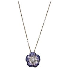 Sterling Blue & Clear Rhinestone Flower Pendant Necklace
