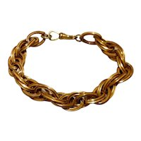 Double Link Gold Tone Flexible Link Bracelet