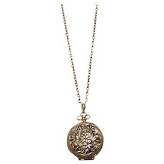 Gold Tone Solid Perfume Pendant Necklace