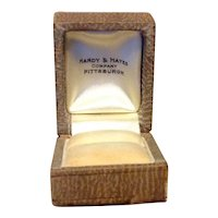 Brown Leatherette Jewelry Display Presentation Box With Gold Gilt Accents