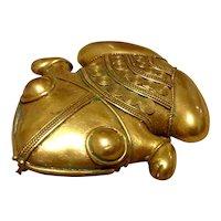 Brass Frog Brooch Pendant