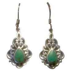 Sterling Silver Turquoise Dangle Earrings.