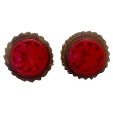 Chinese Export Hand Carved Red Cinnabar Screw Back Earrings