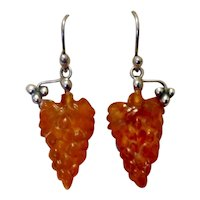 Sterling Amber Grape Dangle Earrings