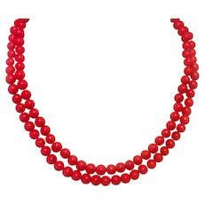 "Red Glass Bead 38"" Necklace"