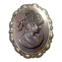 Silver Tone Mother Of Pearl Cameo Brooch NOS