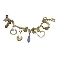 Sterling Clear Sparkling Crystal Charm Bracelet