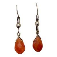 Sterling Silver Carnelian Dangle Earrings