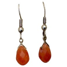 Sterling Silver Carnelian Dangle Earrings