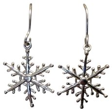 Sterling Silver Snowflake Dangle Earrings