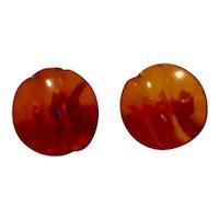 12K Gold Filled Amber Screw Back Earrings