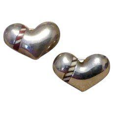Pair Sterling Silver MOP Black Enameled Heart Pins