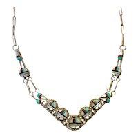 Zuni Son God Necklace Sterling Paper Clip Chain