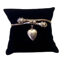 Antique Victorian Gold Filled Bangle Bracelet Dangling Heart