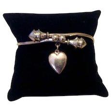 Antique Victorian Gold Filled Bangle Bracelet Dangling Heart