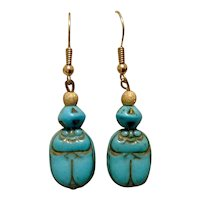 Turquoise Glass Scarab Dangle Earrings