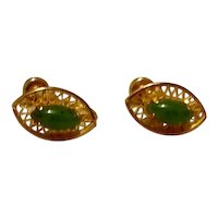 12K Gold Filled Faux Jade Screw Back Earrings