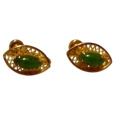 12K Gold Filled Faux Jade Screw Back Earrings