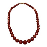 14K Gold Goldstone Graduated Bead Necklace
