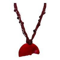 Red Bead Dyed MOP Pendant Necklace