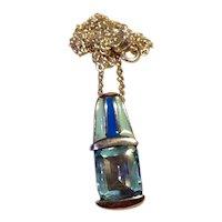 Sterling Enameled Blue Topaz Pendant Necklace
