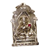 Virgin Mary Sterling Silver Ruby Pendant