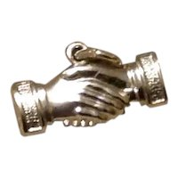 Wells Sterling Two Hands Shaking Charm