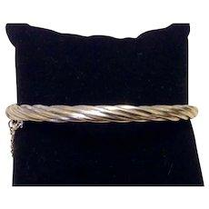 Sterling Hinged Twisted Bangle Bracelet