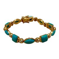 Sterling Silver Vermeil Faux Turquoise Link Bracelet