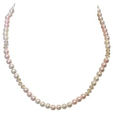 Pink & White Simulated Pearl Necklace With Clear Spacers