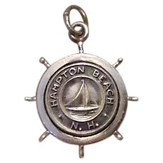 Sterling Hampton Beach N. H. Ships Wheel Charm