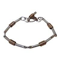 Sterling Silver Bar Bracelet with G/F Twist and Circle Link Bracelet