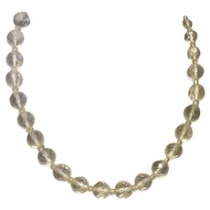 Art Deco Clear Sparkling Faceted Crystal Graduated Bead Necklace
