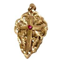 Antique 14K Gold Filigree Openwork Cross
