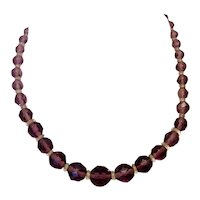 Amethyst & Clear Colored Glass Crystal Faceted Beaded Necklace