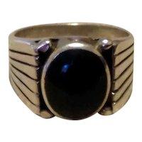 Men's Sterling Black Onyx Ring Size 9