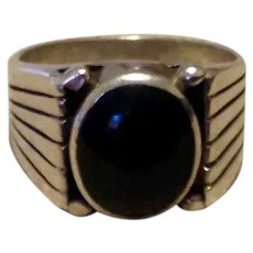 Men's Sterling Black Onyx Ring Size 9
