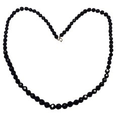 Black Glass Faceted Necklace