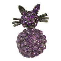 Silver Tone Lavender Rhinestone Cat Brooch
