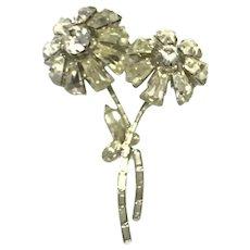 Silver Tone Clear Sparkling Rhinestone Floral Brooch