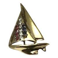 Silver Gilt Rhinestone Sailboat Pendant