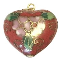 Puffy Gold Tone Cloisonne Pendant