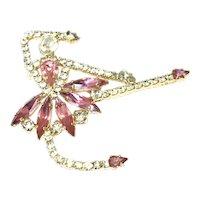 Gold Tone Pink & Clear Rhinestone Ballerina Brooch