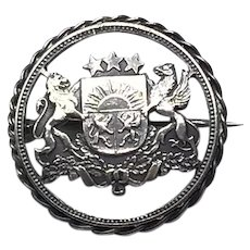 English Cut Out 1925 Lion Coin Brooch