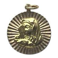 18K Gold Virgin Mary Medal Pendant